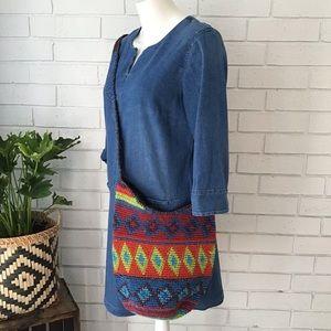 BAMBOO THREADS Cotton Woven Boho Bucket Bag
